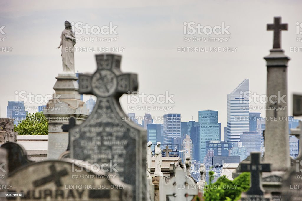 View on Manhattan From Calvary Cemetery, New York royalty-free stock photo