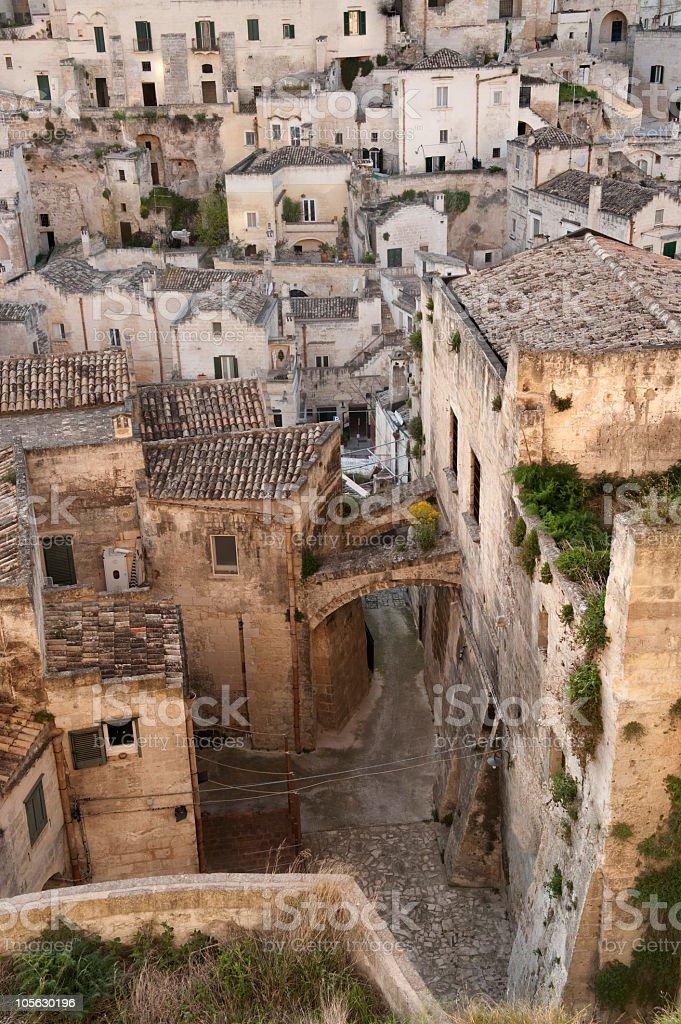 Vista su, i sassi di Matera Basilicata (Italia meridionale - foto stock
