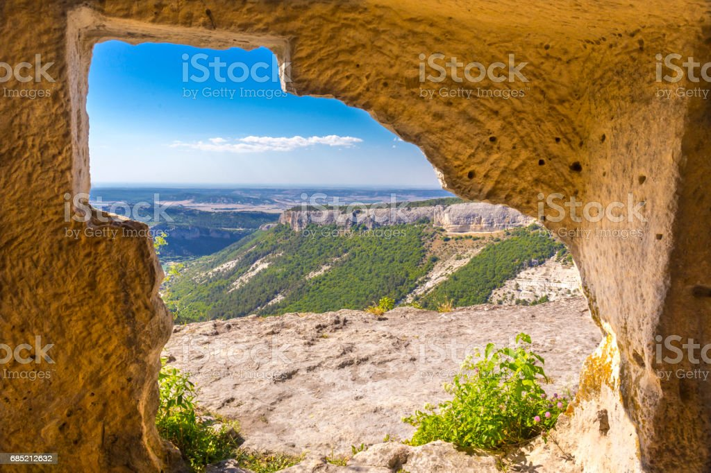 View on medieval fortress Mangup Kale foto de stock royalty-free
