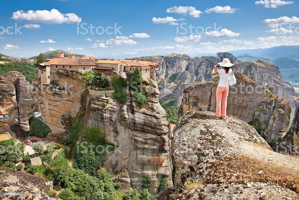 View on Meteora in Trikala, Greece. stock photo