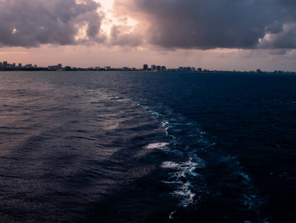 View on Miami port Everglades from cruise ship at the evening deem light View on Miami port Everglades from cruise ship at the evening deem light.. deem stock pictures, royalty-free photos & images