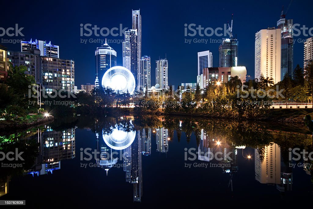 View on modern city at night royalty-free stock photo