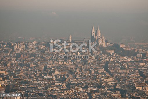 View on Montmartre and Paris, with air pollution, like a veil