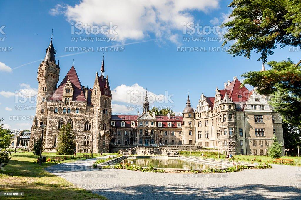 View on Moszna Castle - Poland, Europe. stock photo