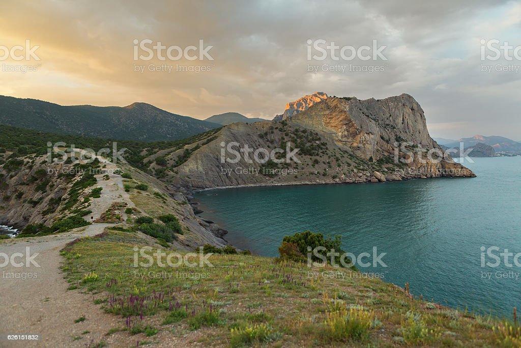 View on Mount Koba-Kaya from Cape Kapchik in Black stock photo