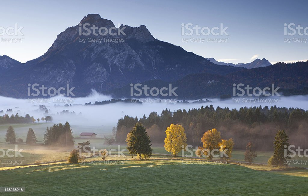 view on mt. sauling near fussen in bavaria, alps, autumn royalty-free stock photo
