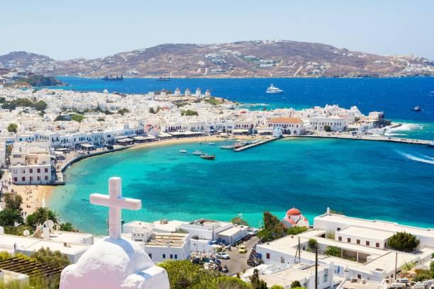 view on mykonos island, cyclades, greece - grecja zdjęcia i obrazy z banku zdjęć
