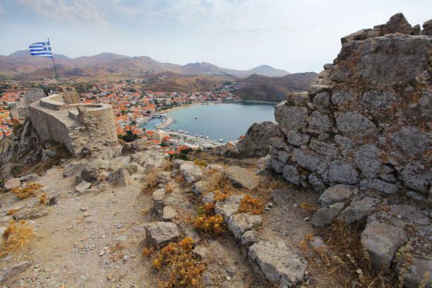 View on Myrina harbor from venetian fort, Limnos island, Greece – zdjęcie