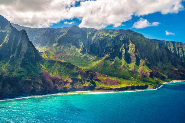 View on Napali Coast on Kauai island on Hawaii stock photo