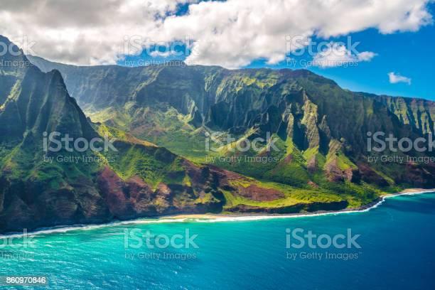 View on Napali Coast on Kauai island on Hawaii, USA