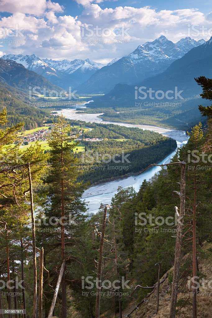 view on natural lechvalley, tirol, austria, stock photo