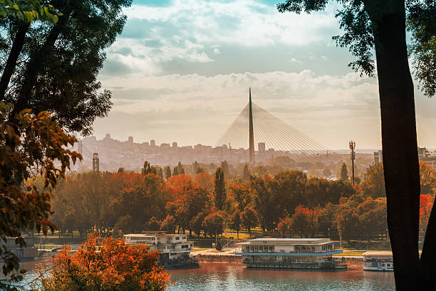 View on new Ada Bridge in Belgrade View from Belgrade fortress on new Ada Bridge in Belgrade belgrade serbia stock pictures, royalty-free photos & images
