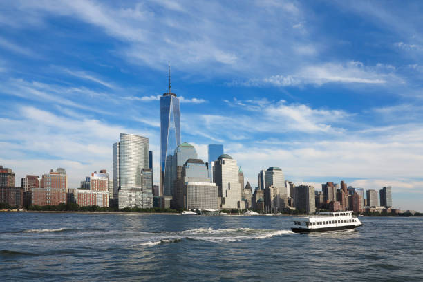 View on New York City  from Hudson river.USA View on New York City  from Hudson river.USA hudson river stock pictures, royalty-free photos & images