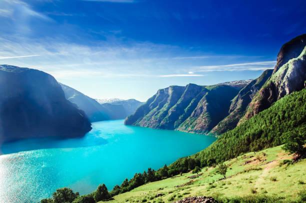 view on norway fiord landscape - aurlandsfjord, part of sognefjord - fiordi foto e immagini stock