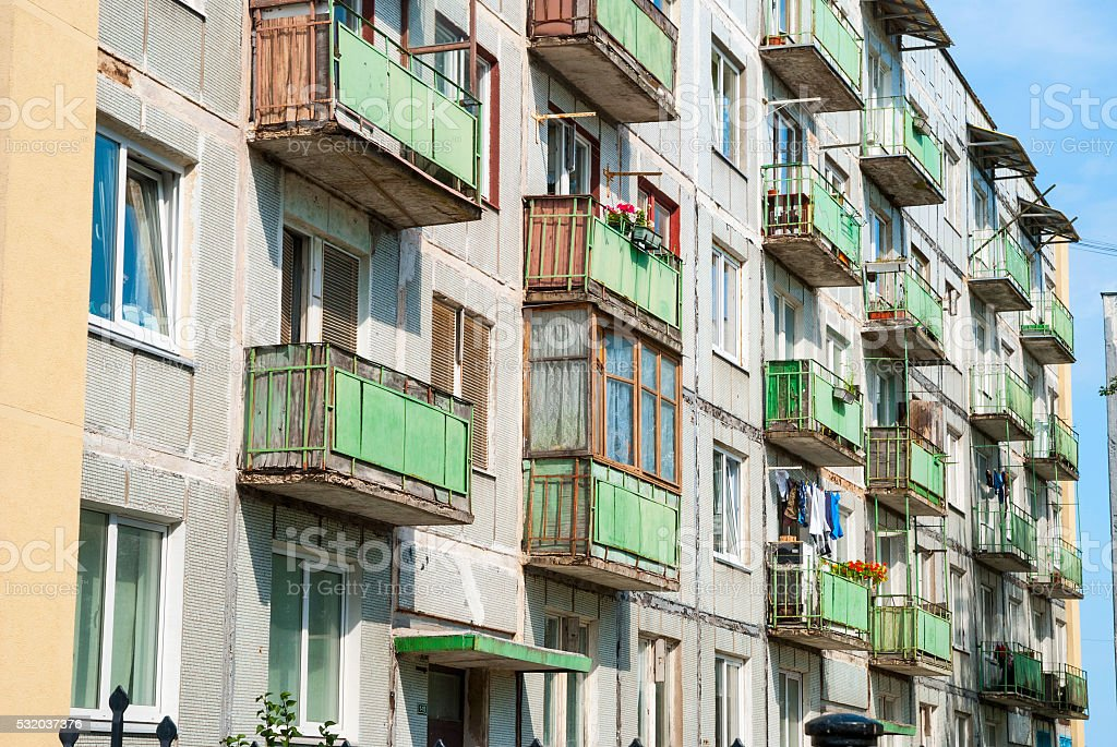 View on old building with balconies stock photo