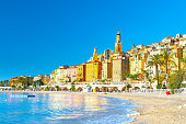 View on old part of Menton, Provence-Alpes-Cote d'Azur, Southern France