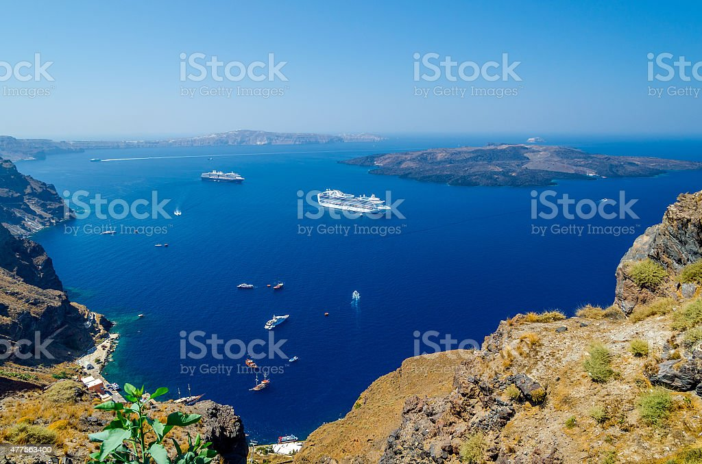 View on old port and volcano of Santorini island, Greece stock photo