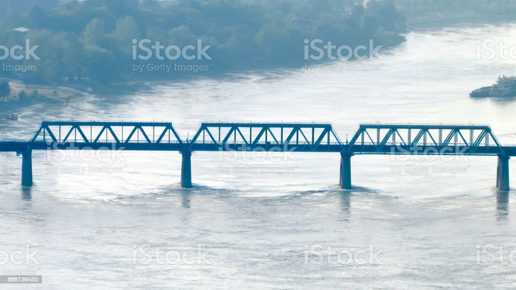 View on old rail bridge over a river in Wuhan China stock photo