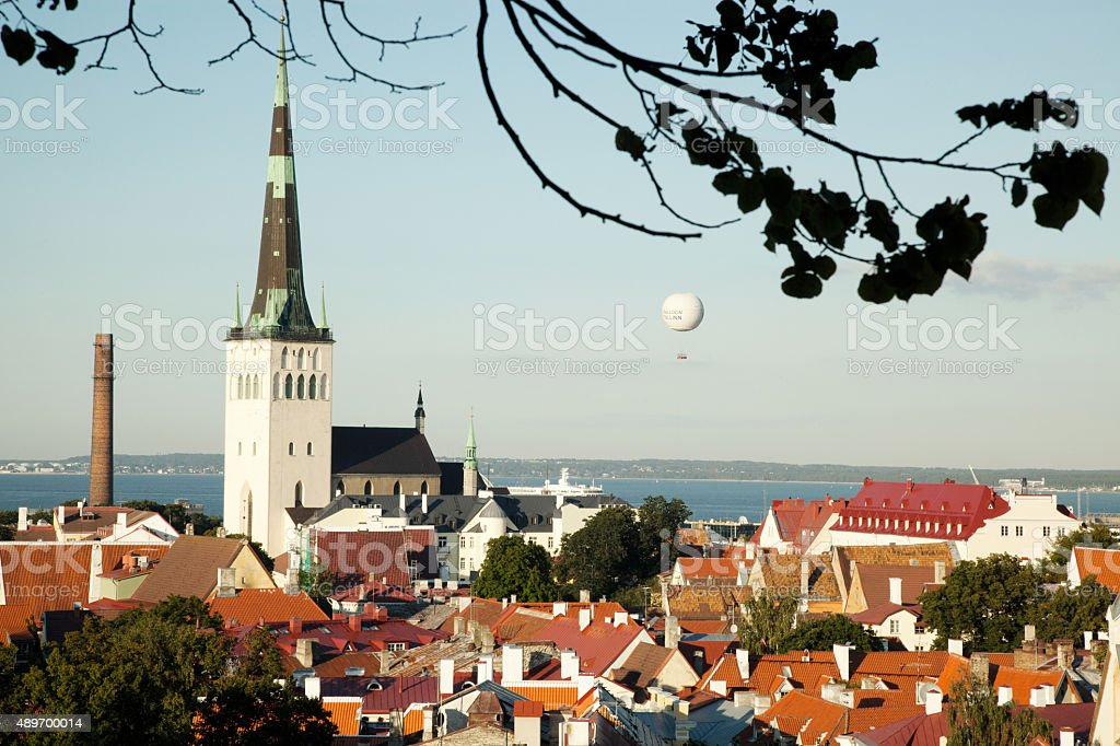 view on Old Tallinn and air baloon stock photo