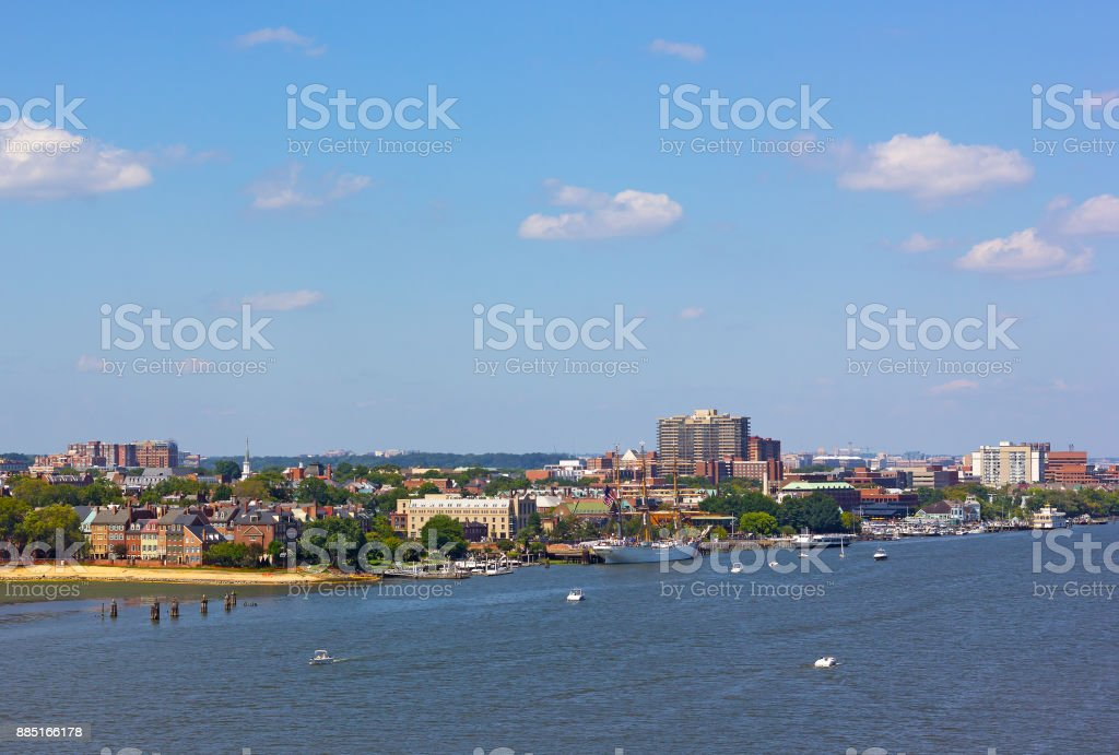 A view on old town Alexandria from the river, Virginia, USA. stock photo