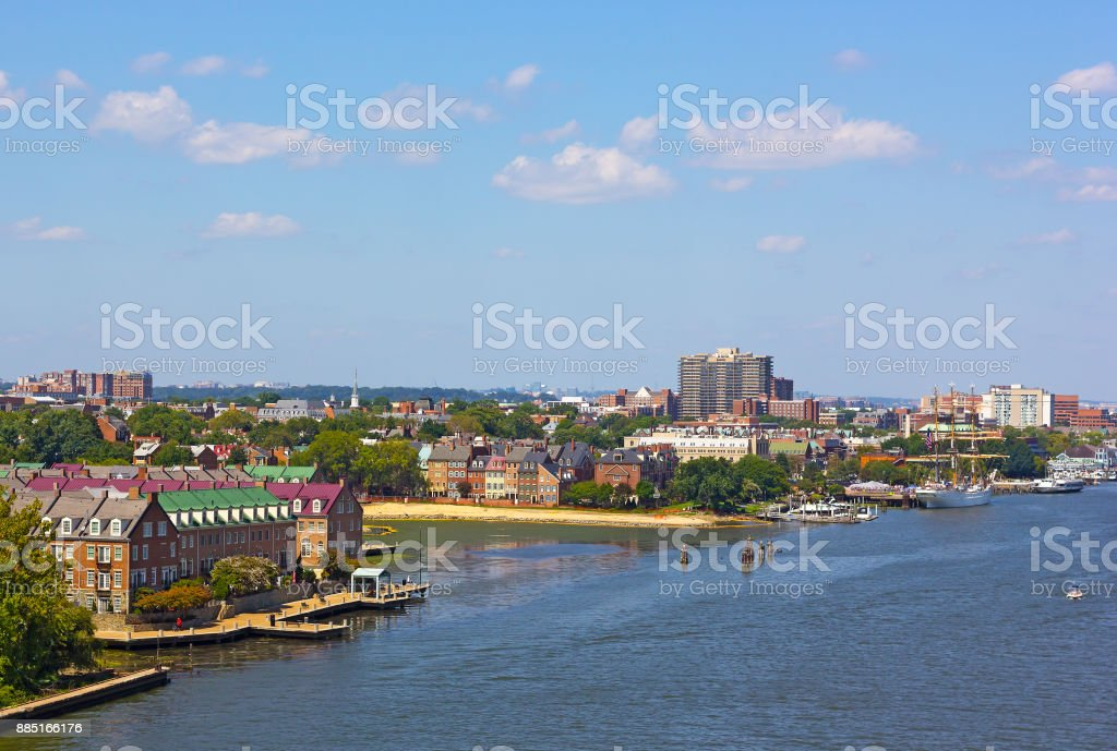 A view on old town Alexandria from the Woodrow Wilson Memorial Bridge, Virginia, USA. stock photo