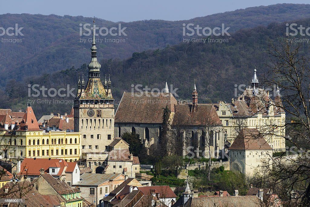 View on old town in Sighisoara stock photo