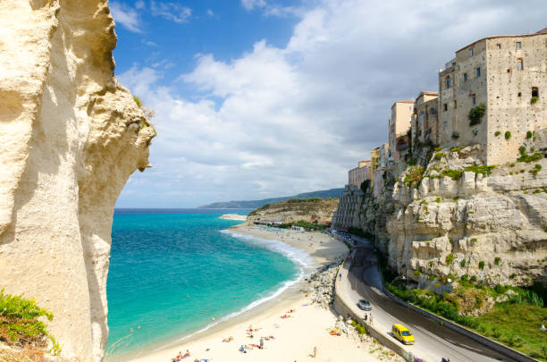 view on old town of tropea on cliff, calabria, italy - foto di tropea foto e immagini stock