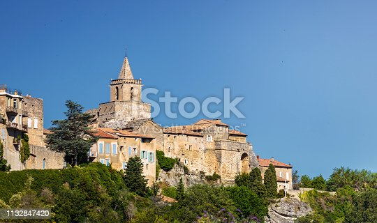 Old french town with bell tower.