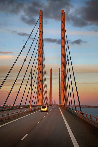 View on Oresund bridge between Sweden and Denmark at sunset – Foto