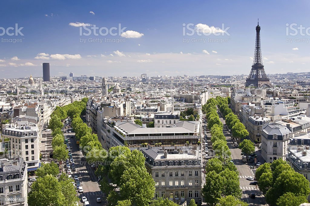 View on Paris from Arc de Triomphe, France stock photo