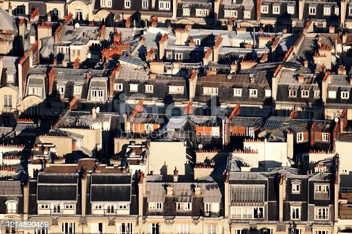 Aerial view on zinc rooftops, in Paris - France.  There classified as world heritage by UNESCO