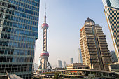 Beautiful Oriental Pearl Tower and skyscrapers in Shanghai, China , on day, low angle view