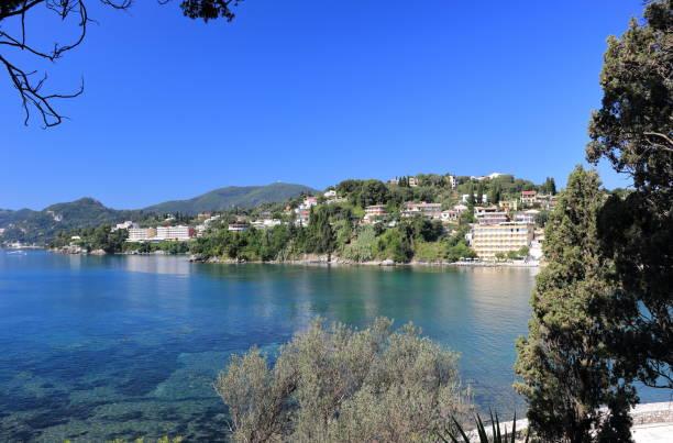 View on Perama from Pontikonisi. Corfu island. Ionian Sea, Greece. stock photo