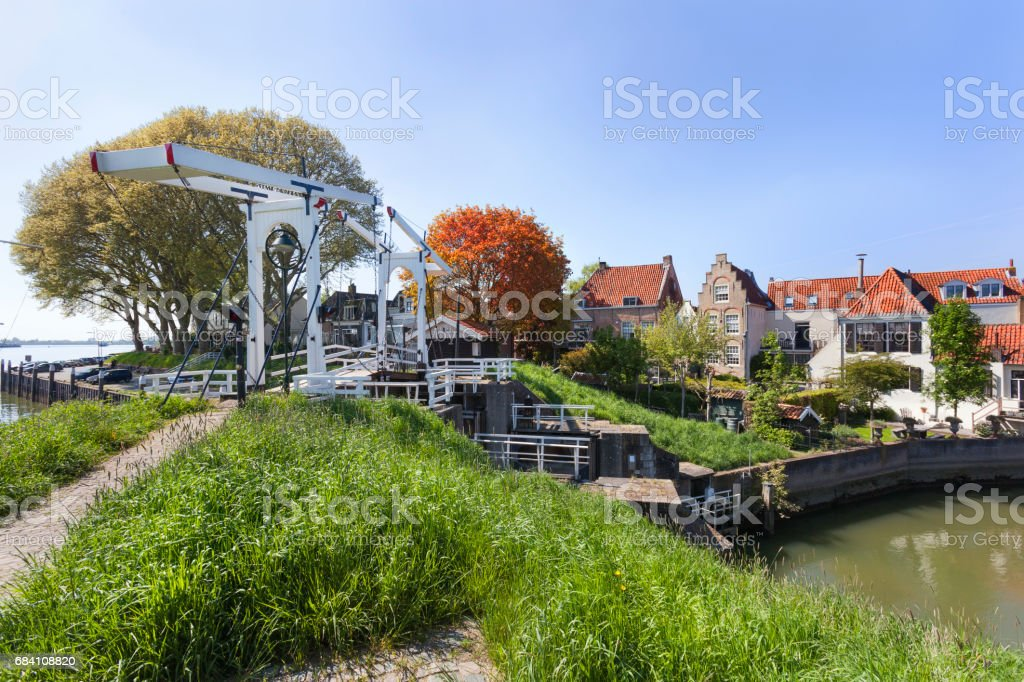 View on picturesque Schoonhoven stock photo