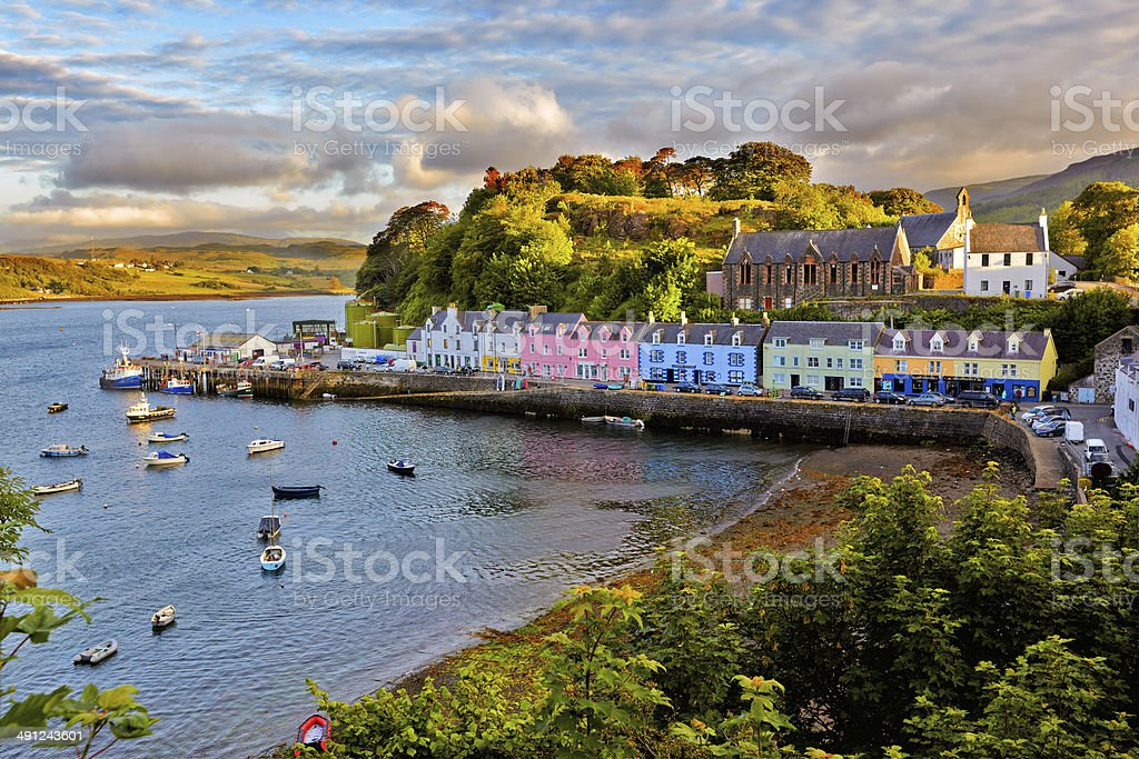 view on Portree, Isle of Skye, Scotland stock photo