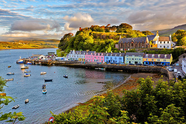 view on Portree, Isle of Skye, Scotland view on Portree before sunset, Isle of Skye, Scotland isle of skye stock pictures, royalty-free photos & images