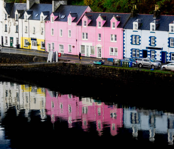 view on Portree Isle of Skye, Scotland stock photo