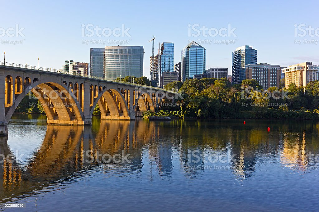 View on Potomac River from Georgetown Park in US capital. stock photo