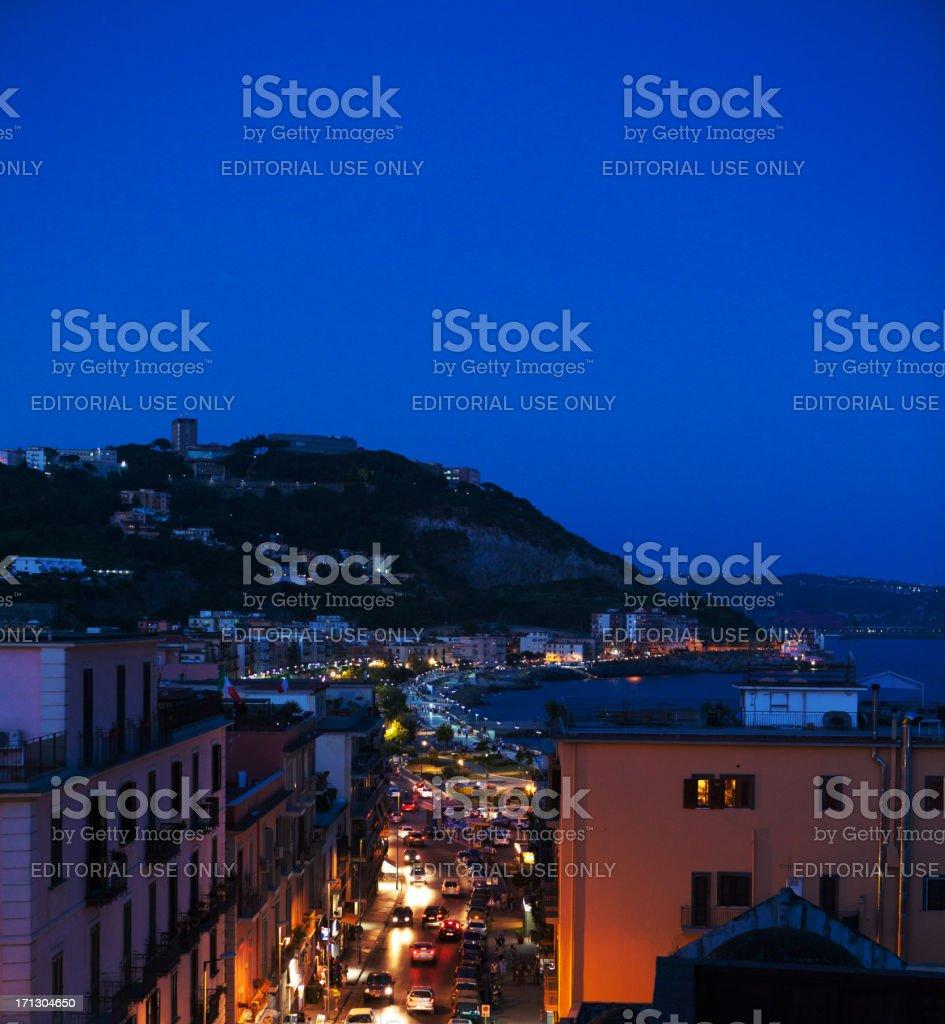 View on Pozzuoli town by Night stock photo