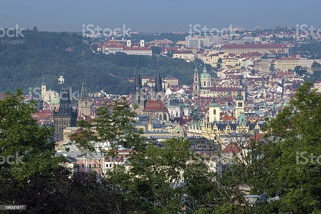 View on Prague from Vitkov Hill stock photo