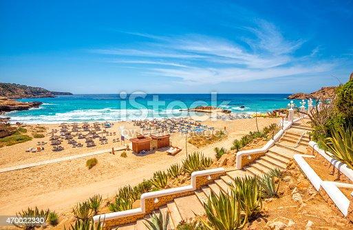 istock View on pre-seasonal Cala Tarida (Ibiza) 470022330