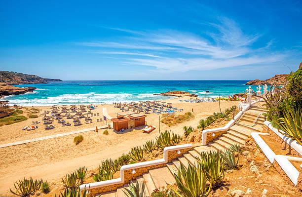 View on pre-seasonal Cala Tarida (Ibiza) stock photo