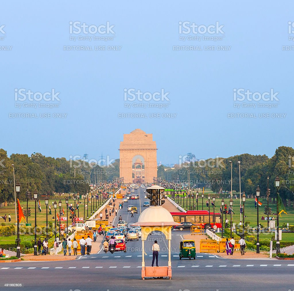 view on Rajpath boulevard to India gate royalty-free stock photo