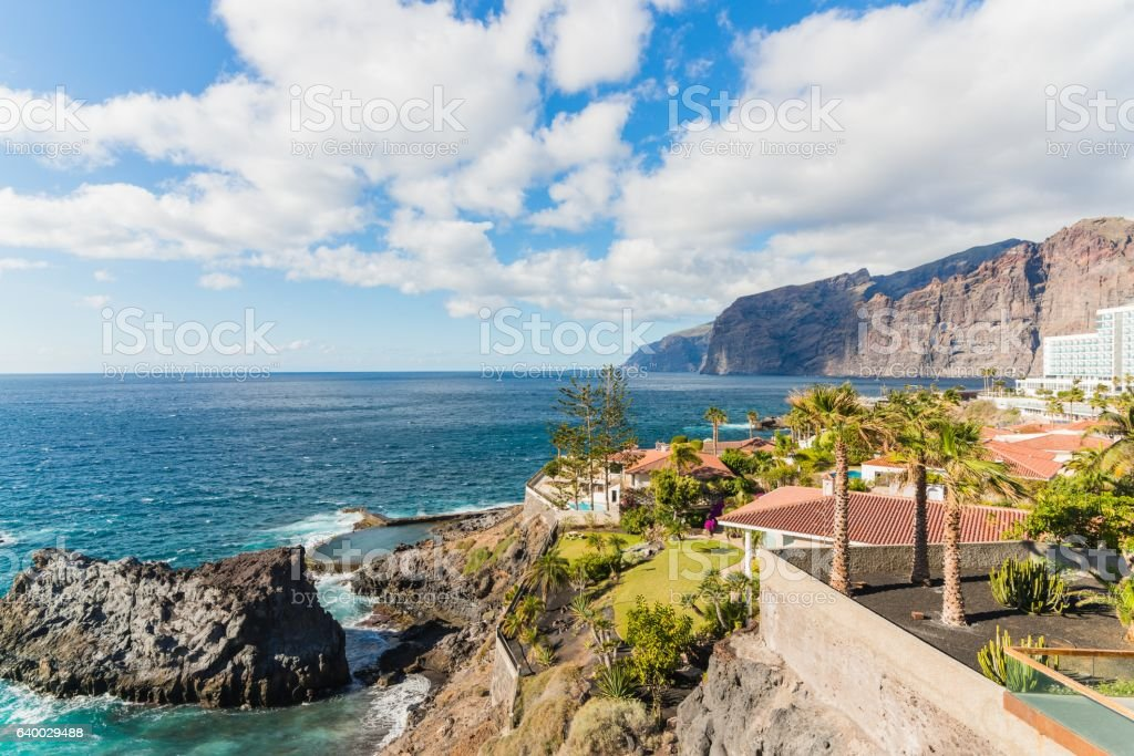 View on rocky cliffs and ocean. stock photo