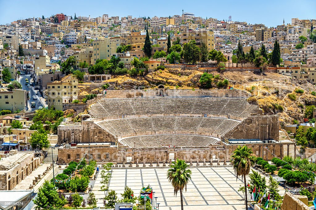 View on Roman Theater in Amman stock photo