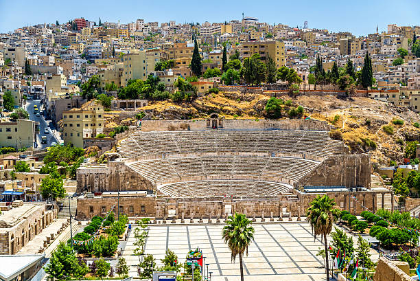 View on Roman Theater in Amman View on Roman Theater in Amman - Jordan amphitheater stock pictures, royalty-free photos & images