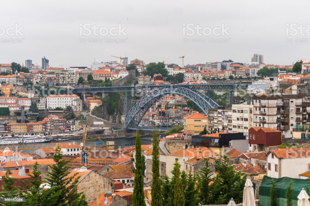 Porto, Portugal - July, 2017. View on roof houses Vila Nova de Gaia on Douro river in Porto, Portugal. Porto, Portugal old town on the Douro River. stock photo