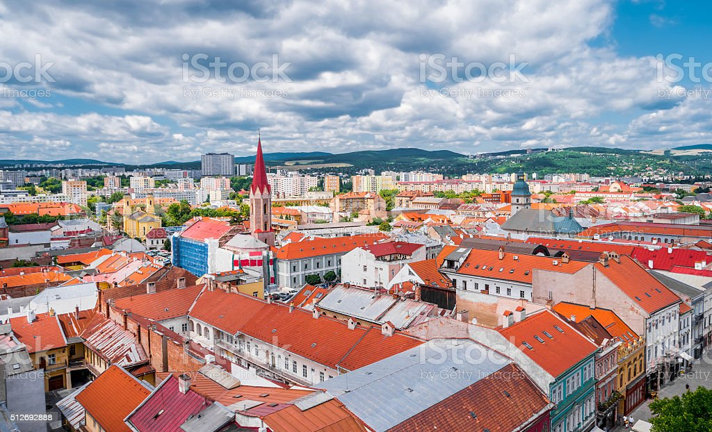 view on roofs in Kosice from St. Elisabeth cathedral stock photo