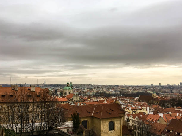 View on roofs in Prague stock photo