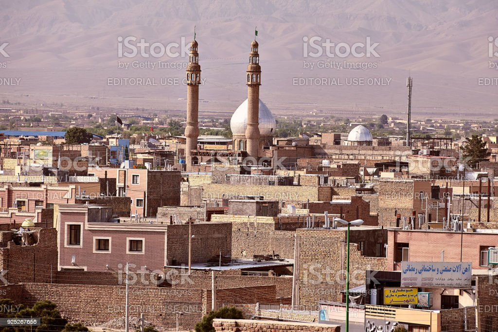 View on roofs in residential area of Kashan city, Iran. stock photo